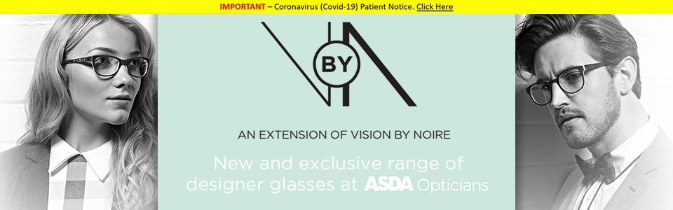VbyN an exclusive range of men's and women's designer glasses available at Asda opticians